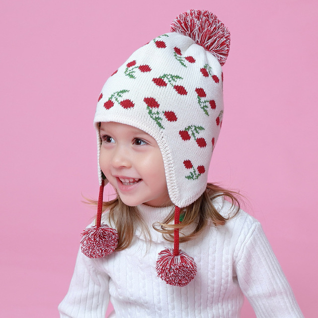 Style Baby Hat Cherry Cotton Hats Girls Warm Cap Knitted Hat Scarf Baby  Toddlers Cute Crochet 4dd7b9c330e