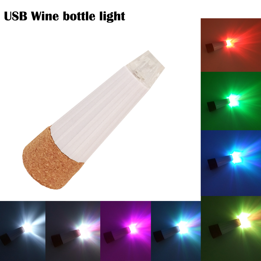 Led Table Lamps 7 Colors Led Cap Lights Usb Chargeable Light Cork Wine Bottle Mdj998