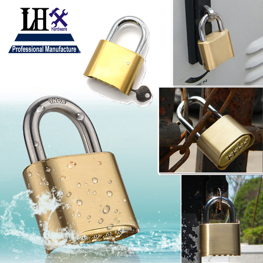 Cadeado Real Fechadura Eletronica Brass Hot 2014 Padlock 4 Code Lock Used In Gate Boxed Or Doors Bicycle with for Management Key code red boxed rtf