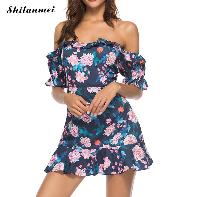 Bohemian Floral Print Overalls For Women Vintage Ruffle Off The Shoulder Bohemian Romper Sexy Lace Up Backless Combinaison Femme