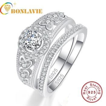 114ab1426ae1 BONLAVIE 2 piezas Natual piedra redonda forma de corazón mujer conjunto  anillo boda compromiso joyería fina