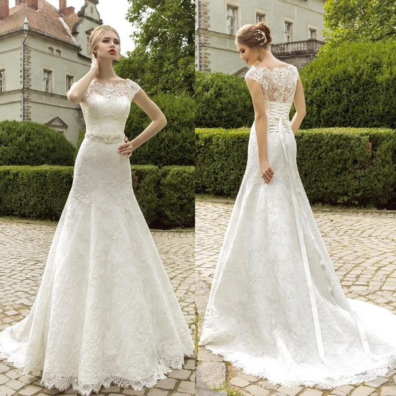 Elegant Off Shoulder Lace Wedding Dresses Sheer Capped Sleeves Fit ...