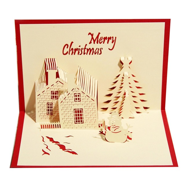 Handmade merry christmas house christmas cards creative kirigami handmade merry christmas house christmas cards creative kirigami origami 3d pop up greeting card postcards m4hsunfo