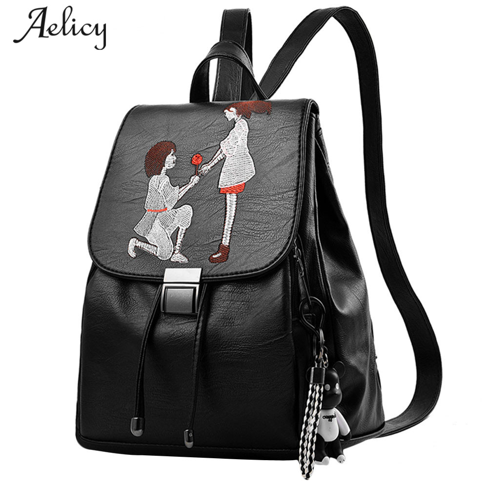 Aelicy New Fashion Womens Leather Backpack Girl Small School Bakcpack Teenager Embroidery Shoulder Bag Cell Phone Pocket