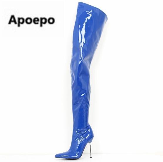 Продавать обувь 12 см тонком металлическом Обувь на высоком каблуке сапоги выше колена черного и белого цвета из лакированной кожи эластичные сапоги большие размеры 13