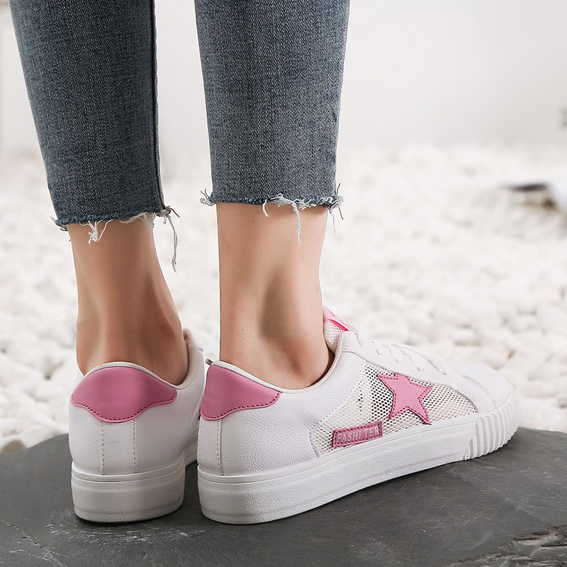 Pink Canvas Sneakers Women Vulcanized Shoes Mesh Summer Star White Sneakers Trainers Women Casual Shoes Lace Up Zapatos Mujer