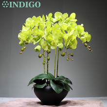 INDIGO - Green Orchid Flower Arrangment (4 pcs orchid +3pcs Leaf ) Real Touch Table Decoration Event Free Shipping