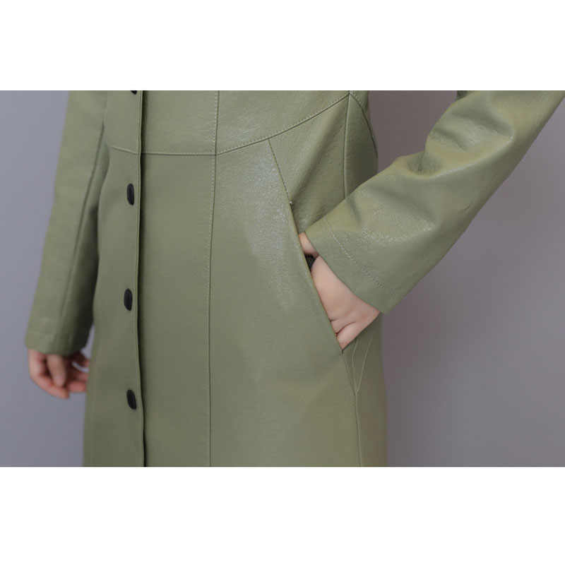 女性本革トレンチ秋 2020 新冬の女性のシープスキンのコートスプリットレザー上着韓国風ホット販売