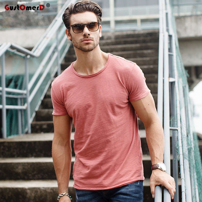 GustOmerD Merek T shirt man O-neck Slim Fit Mode Warna Solid T-shirt Katun Murni T shirt pria Atasan Kasual Tshirt M-XXL