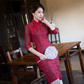 TIC-TEC chinese traditional dress women cheongsam short qipao vintage lace embroidery oriental dresses wedding clothes P3082