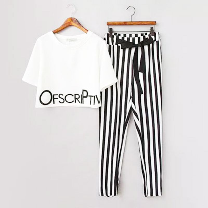 HTB1ROgmqGSWBuNjSsrbq6y0mVXa4 - 2pieces summer set women tracksuit outfit casual lovely printing cotton letter short t-shirt tops+striped harem pants sweatshirt