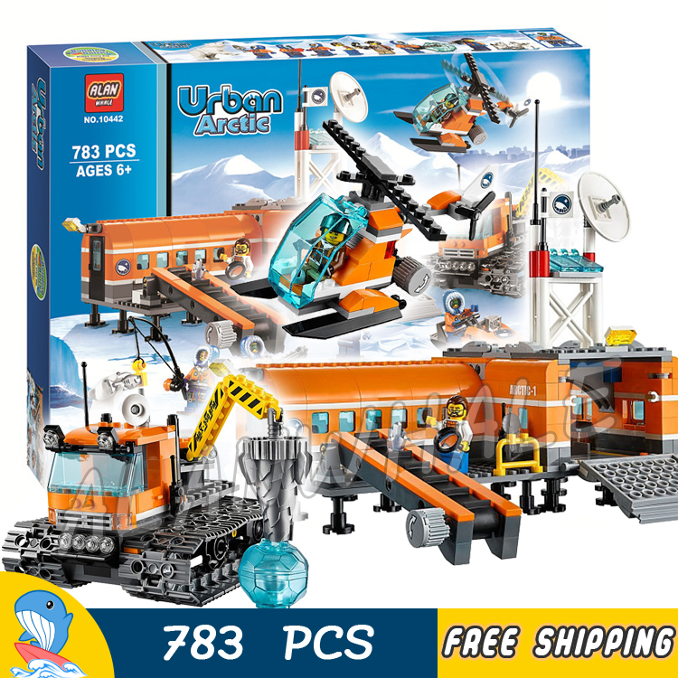 783pcs City Arctic Base Camp Ice Snow Explorer Station 10442 Model Building Blocks Assemble Hot Toys Bricks Compatible with Lego 965pcs city police station model building blocks 02020 assemble bricks children toys movie construction set compatible with lego