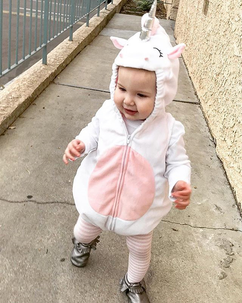 fcc38d27fa1e Cute Unicorn Baby Kids Girl Fleece Sleeveless Zipper Jumpsuit Hooded ...
