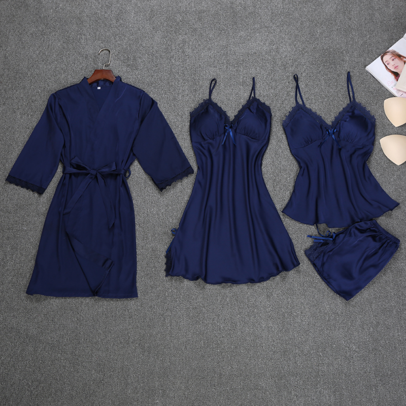 Fashion Robe Set 4 Pieces Robe+Nightdress+Top+Shorts Silk Satin Bathrobe Set Summer Sleepwear Lace Nightwear Set For Women