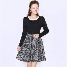 elegant women patchword lace print flowers dress plus size 2XL 3XL 4XL 5XL 6XL quality long sleeve lace black dress Isweeland095