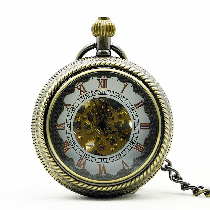 New Bronze Mechanical Pocket Watch Skeleton Roman Numbers Vintage Pendant White Dial Watches With Fob Chain Gifts PJX1126