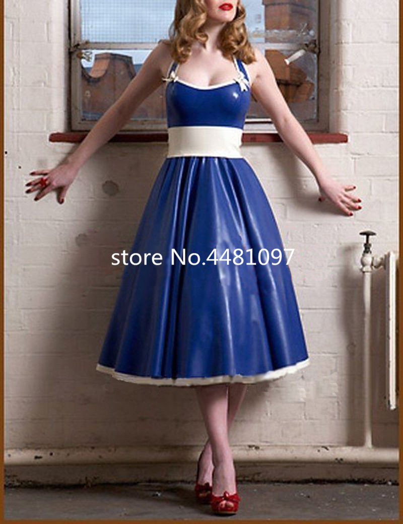 Sexy Latex Dresses Rubber Gowns For Girl Evening Party -3923