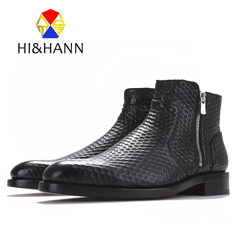Fashion geometric embossing Genuine Leather Boots Black Zipper Ankle Boot Men's Boots Size US 6-13 Free shipping 2017 newest geometric embossing design 100