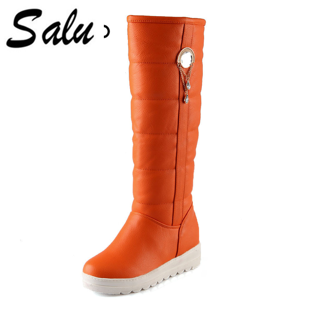 Salu 2018 new Mid calf boots for women fashion shoes snow boots in winter keep warm platform womens boots down waterproof ekoak new 2017 winter boots fashion women boots warm plush mid calf boots ladies platform shoes woman rubber leather snow boots