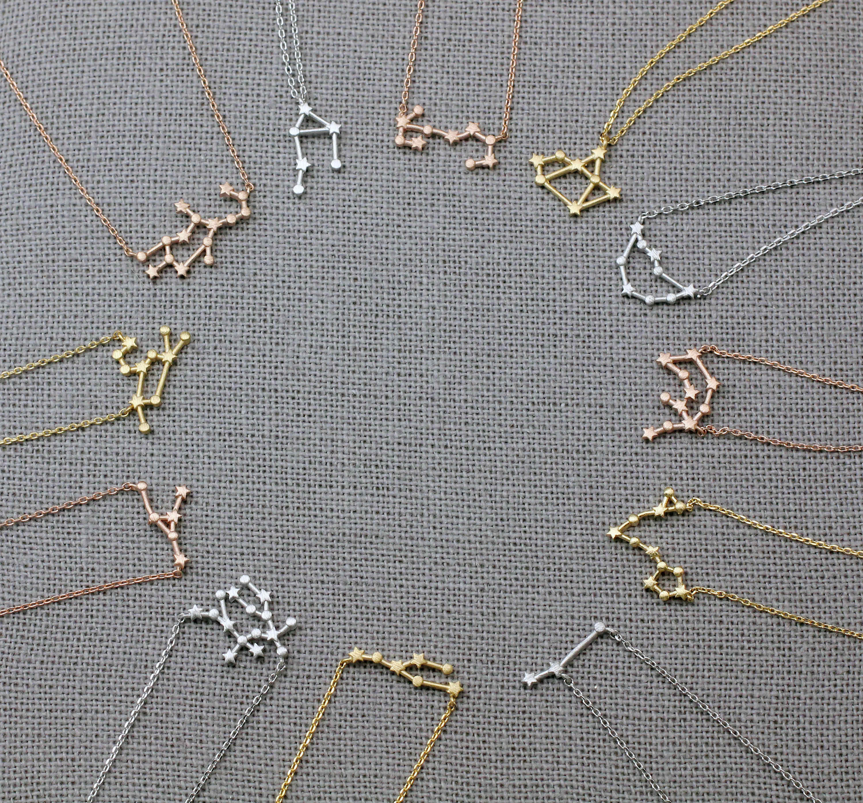 169be5cc3752 Zodiaco collares constelación estrella signo collar Zodiaco signos ...