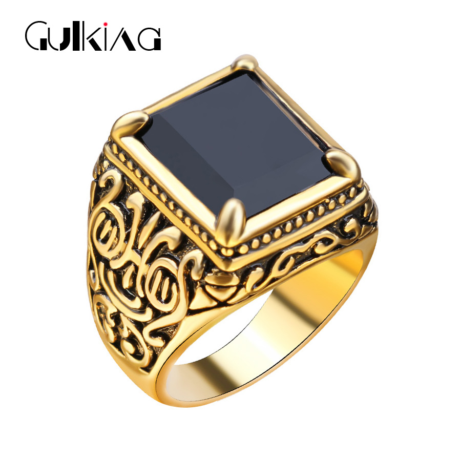 Vintage Fashion Black Men Ring Classic Medieval Style Punk