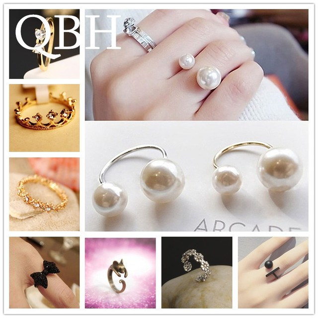 Hot Selling Fashion Imitation Pearl Crown Wing Leaf Lucky 8 Crystal Bow Open Rin