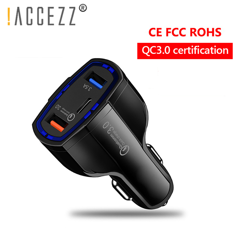 !ACCEZZ 3.0 Quick Charge Dual USB Car Charger Socket&Type C Port For iPhone X 7 Xiaomi mi 9 Huawei P20 Charging Splitter Adapter