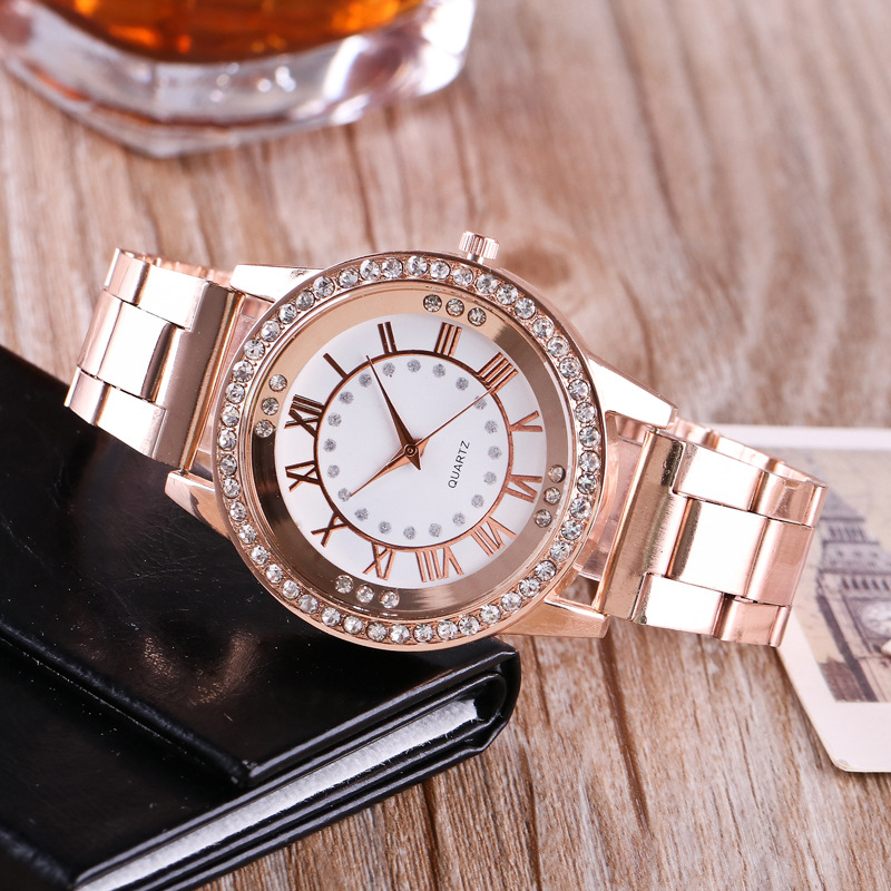 2018 New Fashion Watch Women Dress Drill Needle Watches Rose Gold Stainless Steel Quartz Womans Ladies Rhinestone Wrist Watches