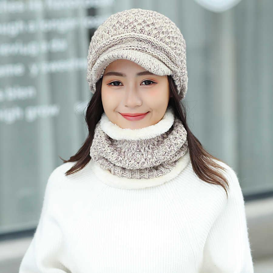 2018 新冬の帽子スカーフセット女性のためのヴィンテージニット女性の野球キャップ屋外暖かい PomPom 帽子女性固体リングスカーフ