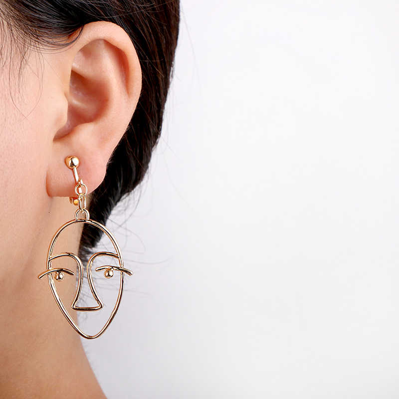 Geometri Wajah Anting-Anting untuk Wanita Tidak Ada Lubang Telinga Klip Wajah Logam Klip Anting-Anting Tanpa Tindik Laporan Anting-Anting Perhiasan CE75