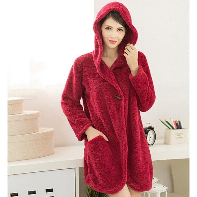 New Fashion 2017 Women Winter Hooded Bathrobe Coral Fleece Warm Nightgown Casual Long Sleeve Soft Comfy Solid Sleepwear