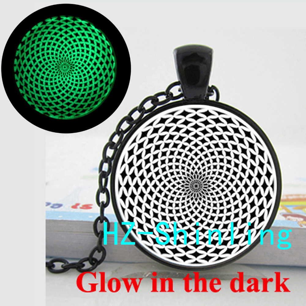 Glow in The Dark Flower of Life Necklace Sacred Geometry Jewelry Glowing Pendant Glass Cabochon Necklace