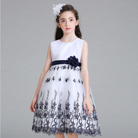 New Design Floral A Line Baby Girl Dress European And American Style Sleeveless Kids Ball Gown