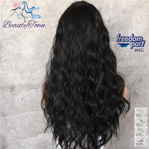 Image 4 - BeautyTown Black Color 13x6 Big Lace Free Part Futura Heat Resistant No Tangle Hair Daily Makeup Layer Synthetic Lace Front Wigs