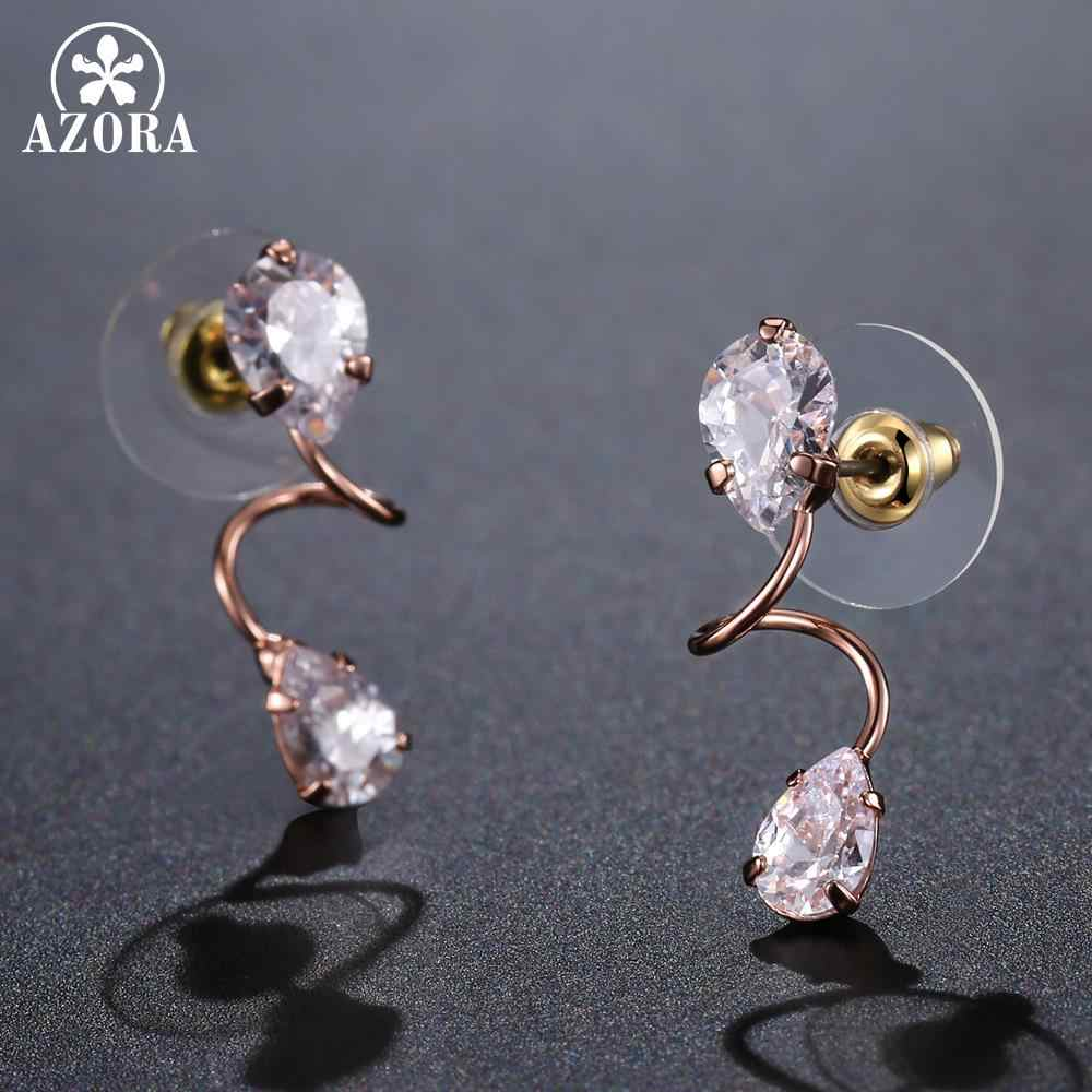 ... AZORA Elegant Bending Two Pear Cut Clear Cubic Zirconia Drop Earrings  for Women Rose Gold Color ... 4be36a2610c0