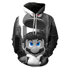 2019 Autumn New Fashion 3d Hoodies Cartoon Super Mario 3D print Hooded Sweatshirt Funny Chocobo Arcade Style Casual Pullovers