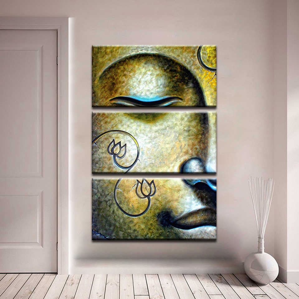 Canvas Wall Art Pictures For Living Room Framework 3 Pieces Retro Buddha Paintings HD Prints Buddhism Lotus Posters Home Decor