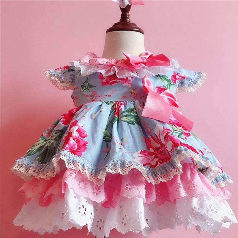Prévente été Style espagnol filles fleur imprimer robe enfants Boutique princesse coton robe bébé mignon anniversaire robes de fête G022