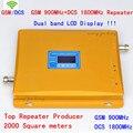 LCD GSM DCS 900 mhz 1800 MHz de alta ganancia 65db Teléfono Celular cubierta Enhancer Repetidor Amplificador Amplificador de Señal de Teléfono Móvil 2000m2