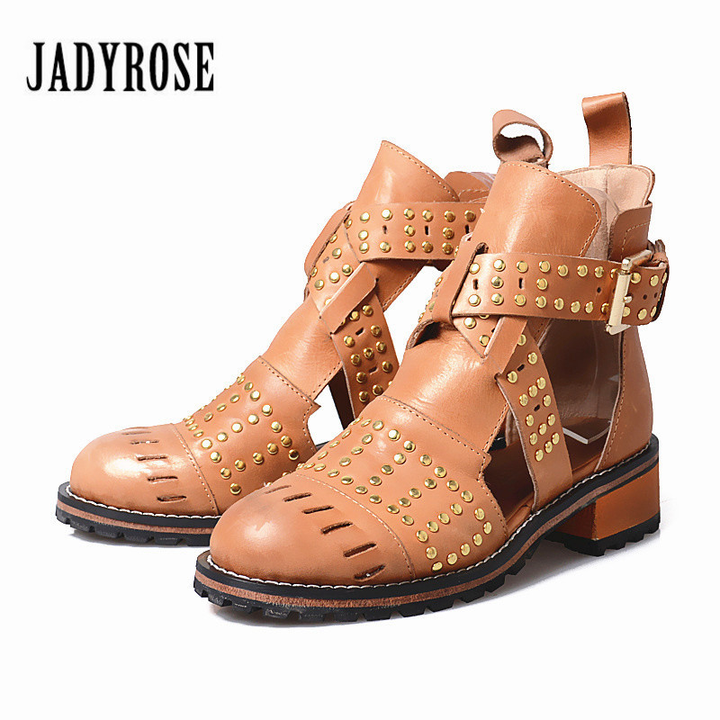 Jady Rose Hollow Out Genuine Leather Ankle Boots for Women Retro Rivets Studded Low Heel Summer Boots Short Martin Boot цена 2017