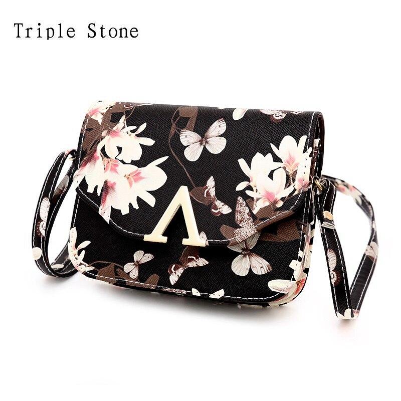 New Spring Flower Butterfly Print Mini Women Crossbdy Cross Body Bag Female Leather Flap Messenger Bag V Word Famous Purses