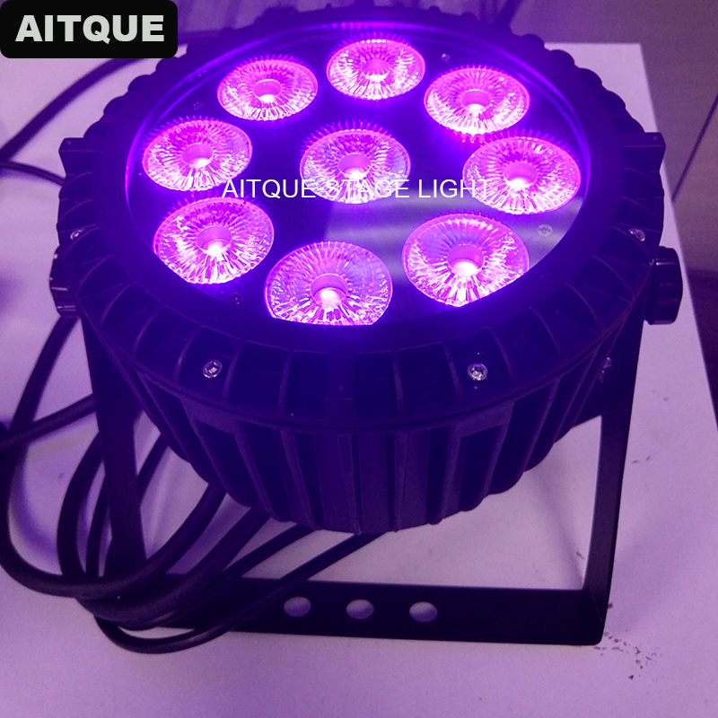 10pcs Waterproof led flood dj led par 9x18w rgbwa uv 6in1 slim led stage lights led flat par light ip65