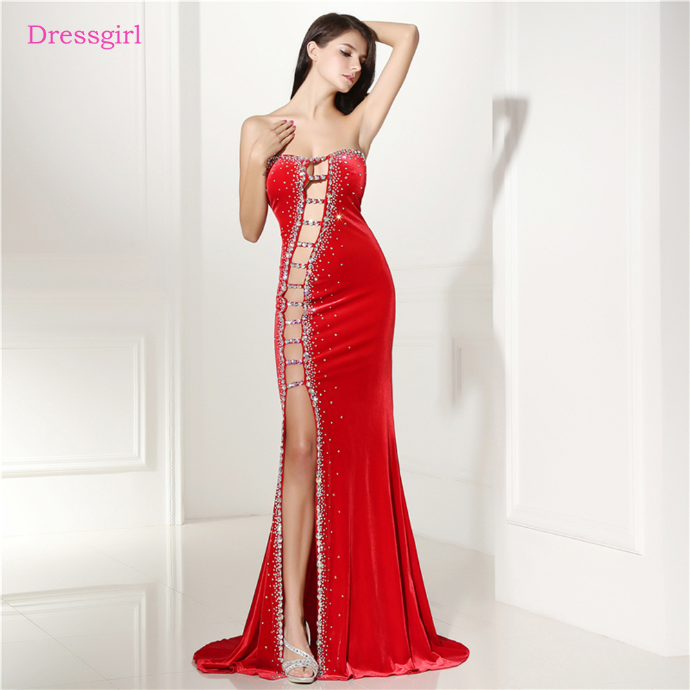 Red 2018 Prom Dresses Mermaid Sweetheart Beaded Crystals ... Red Dresses For Women 2018