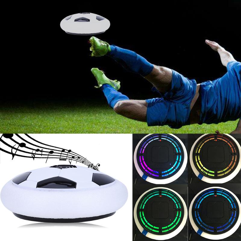 LED Light Music Flashing Soccer Ball Toys Colorful Air Power Soccer Disc Indoor Hovering Football Gliding Outdoor Kids Toy Gift
