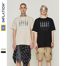 INFLATION Funny Printed Cotton Casual T Shirt Streetwear Men 2019 Harajuku Tee Shirt Fashion Short Sleeve Couple T-shirt 91132S