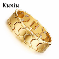 18mm Width Fashion Stainless Steel Magnetic Bracelets Men 18K Gold Plated Football Design Health Care Hand