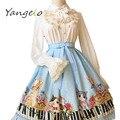 2016 primavera y el verano diseño original LOLITA faldas de impresión Digital el teclado maullido Dulce y lindo de la falda