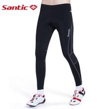 Santic Men 4D Padded High Elasticity Cycling Pants Antiskip Silica Reflective Breathable Bicycle Bike Riding Mtb