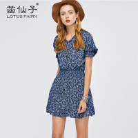 Lotus Fairy Female Dress Cute Floral Dress Chiffon V Neck Lolita Summer Dress Elastic Waist Blue