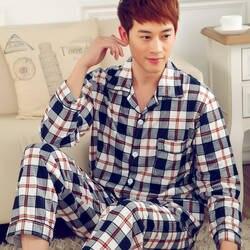 Мужская пижама Демисезонный пижама с длинными рукавами хлопок плед кардиган пижамы мужчин Lounge Пижамный комплект Большие размеры 3XL сна